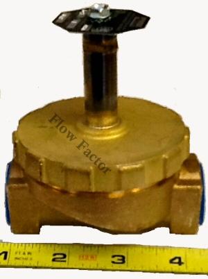 Flow Factor: Parker STEAM valve, 3/4 inch ports in Brass